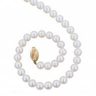 "14K 7+MM White Freshwater Cultured Pearl 16"" Necklace"