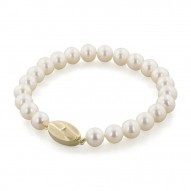"14K 7+MM White Freshwater Cultured Pearl 7"" Bracelet"