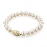 """14K 7+MM White Freshwater Cultured Pearl 7"""" Bracelet"""