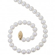 "14K 8+MM White Freshwater Cultured Pearl 18"" Necklace"