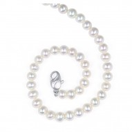 "Sterling Silver 6-7MM White ASP Freshwater Cultured Pearl 18"" Necklace"