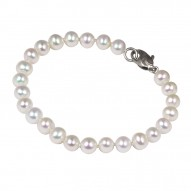 "Sterling Silver 6-7MM White ASP Freshwater Cultured Pearl 7"" Bracelet"
