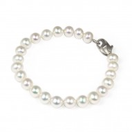 "Sterling Silver 7-8MM White ASP Freshwater Cultured Pearl 7"" Bracelet"