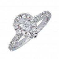 Sachs Signature 1CTW Pear Halo Engagment Ring