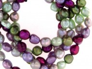 Set of Five 8-9mm Grapevine Baroque Fresh Water Cultured Pearl Stretch Bracelets, 7.5""