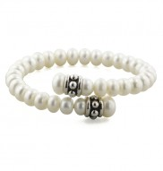 Sterling Silver 7-8.5MM White Freshwater Cultured Pearl Pallini Coil Bracelet