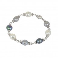 "Sterling Silver 9-10MM Black White Gray Baroque Freshwater Cultured Pearl 7.5"" Bracelet"