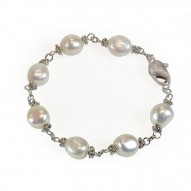 "Sterling Silver 9-10MM White Baroque Freshwater Cultured Pearl 7.5"" Bracelet"