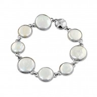 "Sterling Silver 12-16mm White Baroque Coin Freshwater Cultured Pearl 7.5"" Magnetic Bracelet"