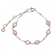 "Sterling Silver Pink 4.5-5.5MM Potato FWCP and Crystal Tin Cup Brac. 6"" with 1.5"" Extender"