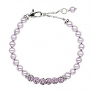 "Sterling Silver Lilac 5+MM Potato FWCP and Crystal 6"" Brac. with 1.5"" Extender"