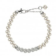 "Sterling Silver White 5+MM Potato FWCP and Crystal 6"" Brac. with 1.5"" Extender"