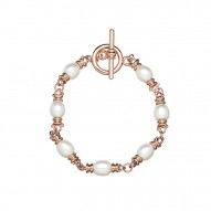 Bronze 8-8.5MM Oval Freshwater Cultured Pearl Toggle Bracelet