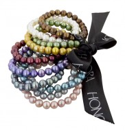 Set of Ten 7-8MM Multi Colored Ringed Freshwater Cultured Pearl Stretch Bracelets