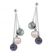 Sterling Silver 8-9MM Gray, White and Black Ringed Freshwater Cultured Pearl Multi Dangle Earrings