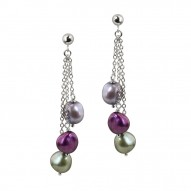 Sterling Silver 8-9mm Grapevine Baroque Freshwater Cultured Pearl Dangle Earrings