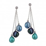 Sterling Silver 8-9MM Peacock Baroque Freshwater Cultured Pearl Dangle Earrings