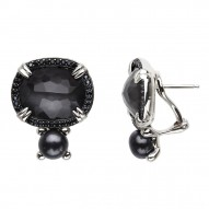 Sterling Silver Crystal and Hematite Doublet with Black Spinel and 7-7.5mm Black FWCP Clipback Earrs