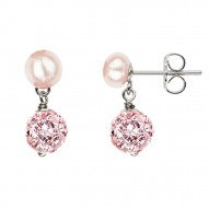 Sterling Silver Rose 5-6MM Button FWCP and Crystal Earring