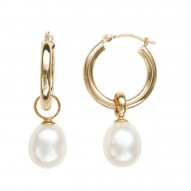 14K YG 8-9MM Wht Oval FWCP Hoop Earrings