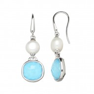 Sterling Silver 9-10mm Button Freshwater Cultured Pearl Turquoise Crystal Doublet Earrings