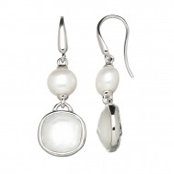 Sterling Silver 9-10mm Button Freshwater Cultured Pearl White Mother of Pearl Crystal Doublet Earrings