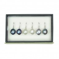 Set of 3 Sterling Silver 9-10MM Black, White and Gray Freshwater Cultured Pearl Drop Earrings
