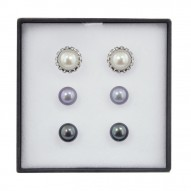Box Set of Three Sterling Silver 9MM Black, White and Gray Button Freshwater Cultured Pearl Studs with Earring Jacket
