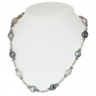 "Sterling Silver 9-10MM Black White Gray Baroque Freshwater Cultured Pearl 18"" Necklace"