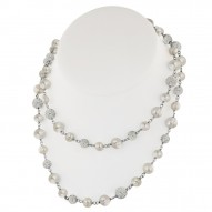 Sterling Silver 7-10mm Round Ringed White Fresh Water Cultured Pearl and Pave Crystal Bead Necklace, 36""