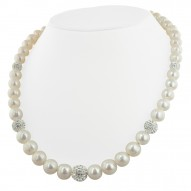 "Sterling Silver 8-12mm White Ringed Freshwater Cultured Pearl with Pave Crystal Beads 18"" Necklace"