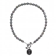 """Sterling Silver Crystal and Hematite Doublet witht Black Spinel and 8.5-9mm Black Oval FWCP Toggle Necklace, 18"""""""