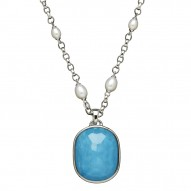 "Sterling Silver 6-8mm Oval Freshwater Cultured Pearl Turquoise Doublet Enhancer on 36"" Necklace"
