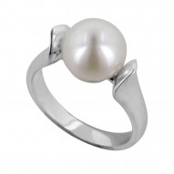 Sterling Silver 10-10.5MM Chocolate Freshwater Cultured Pearl Ring