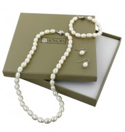 "Sterling Silver 7-8MM Oval White Freshwater Cultured Pearl 18"" Necklace, 7.25"" Bracelet and 7-7.5MM Dangle Earring Box Set"