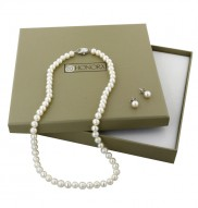 "Sterling Silver 6-6.5MM White Freshwater Cultured Pearl 18"" Necklace and 6-6.5MM Stud Earring Box Set"