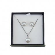Box Set of Sterling Silver 10MM White Button Freshwater Cultured Pearl Pendant with 9-10MM White Button Freshwater Cultured Pearl Stud Earrings
