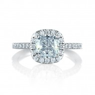 14K White Gold 0.45Ctw Semi Mount With 1.50Ct Cushion Head.