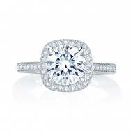14K White Gold 0.39Ctw Semi Mount With 1.00Ct Head.