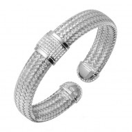 "Sterling Silver ""Lauren"" Cz 12Mm Woven Brac/Rhodium Fin"