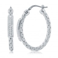"Sterling Silver ""Nardini"" 35X3Mm Cz Bar Hoop Earrings Rhodium Finish"