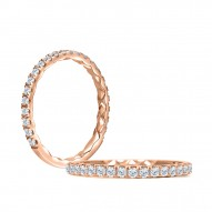 14K Rose Gold 0.43Ctw Semi Mount With 1.00Ct Round Head.