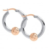 SS/RG Cape Cod Swirl Bead Hoop Earrings