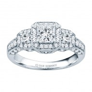 Rm1113-14k White Gold Princess Cut Diamond Vintage Style Engagement Ring
