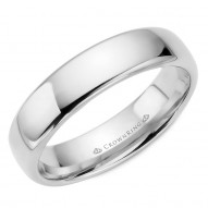 CrownRing traditional wedding band in white gold.