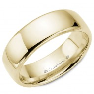 CrownRing traditional wedding band in yellow gold.
