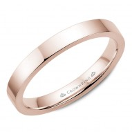 CrownRing traditional wedding band in rose gold.