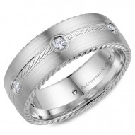 CrownRing wedding band in white gold with six round diamonds and rope detailing.