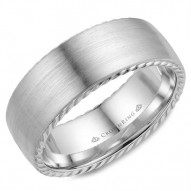 CrownRing A contemporary brushed wedding band in white gold with rope detailing on the edges.