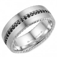 CrownRing A contemporary brushed wedding band in white gold with rope detailing on the edges and 45 black diamonds.